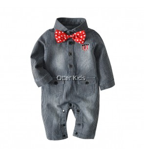 Baby Boy Striped Denim Jumpsuit