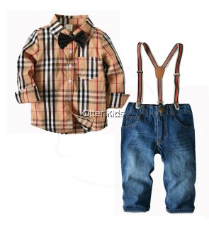 Baby Boy Kids Fashion Checkered Shirt & Suspender Corduroy Set