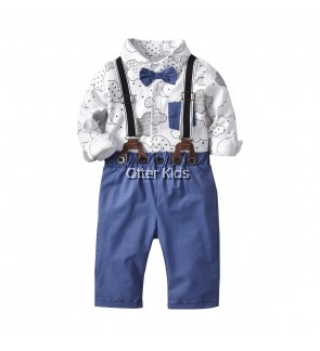 Baby Boy Kids Fashion 2 pieces Cloud Button front Bodysuit Corduroy Set
