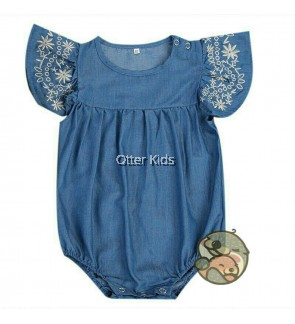 Baby Girl Denim Rompers