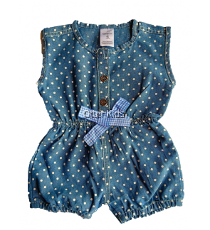 Baby girl Short Denim Jumpsuit Pants Shirt
