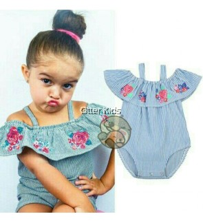 Girl Clothes Flower Striped Rompers