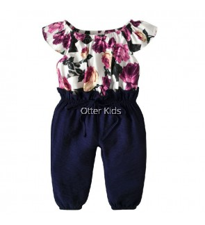 Girl Purple Jumpsuit Pants