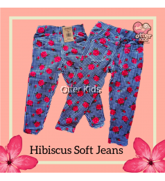 [Otter Kids] Baby Girl Soft Printed Jeans - Hibiscus