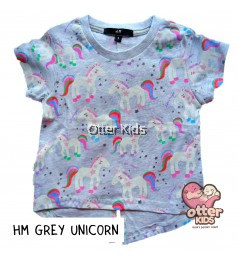 [Otter Kids] Girl T-Shirt HM Grey Unicorn