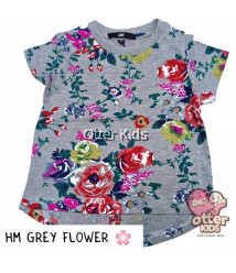 [Otter Kids] Girl T-Shirt HM Grey Flower