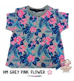 [Otter Kids] Girl T-Shirt HM Grey Pink Flower